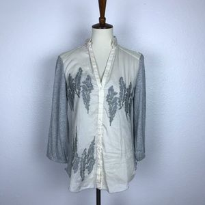 Anthropologie Tiny Silver Eden Embroider Top T491